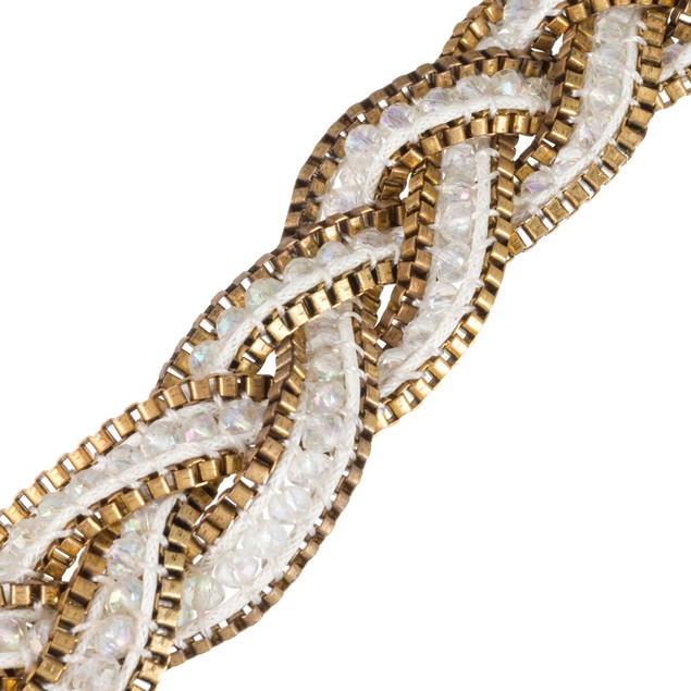 Braided White Crystal Necklace with Gold Tone Box Chain Border