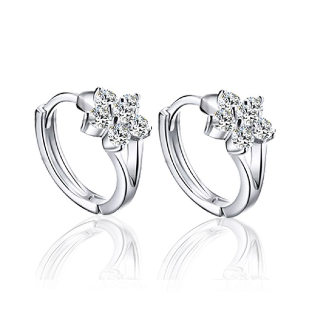 Cubic Zirconia Flower Huggie Earrings