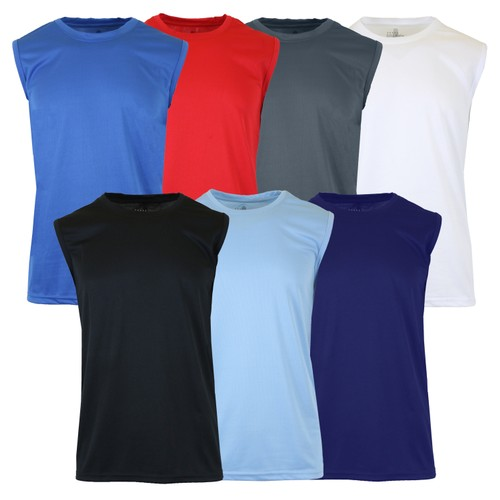 6-Pack Assorted Men's Moisture Wicking Wrinkle Free Performance Muscle Tee