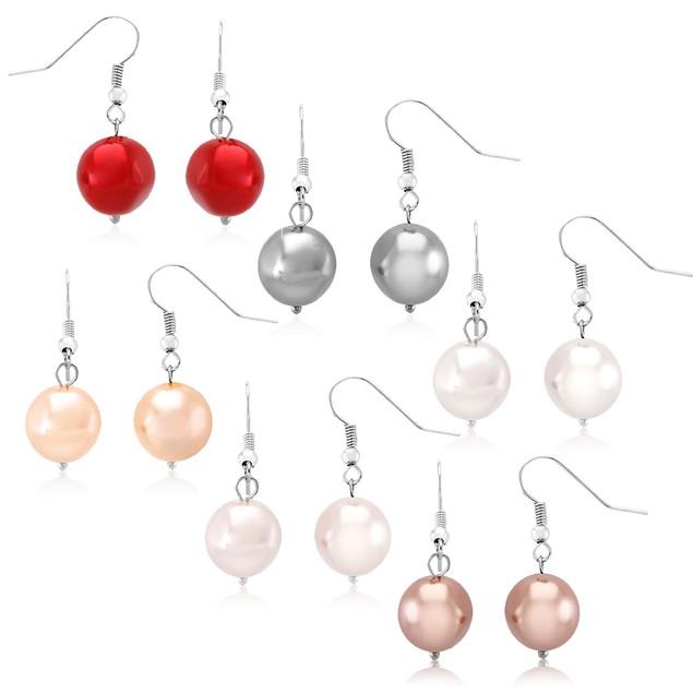 Set of 6 Faux Pearl Earrings