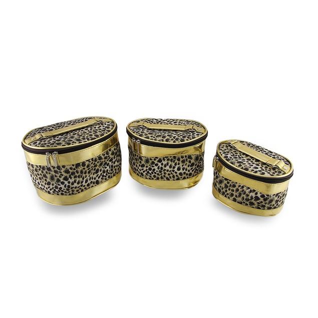 Set Of 3 Leopard Print Cosmetic Bags W/Metallic Womens Cosmetic Bags