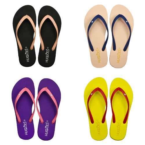 HUGGOES -Ultra Soft Comfortable Natural Rubber Summer Beach Flip Flops for Women- Multiple Styles
