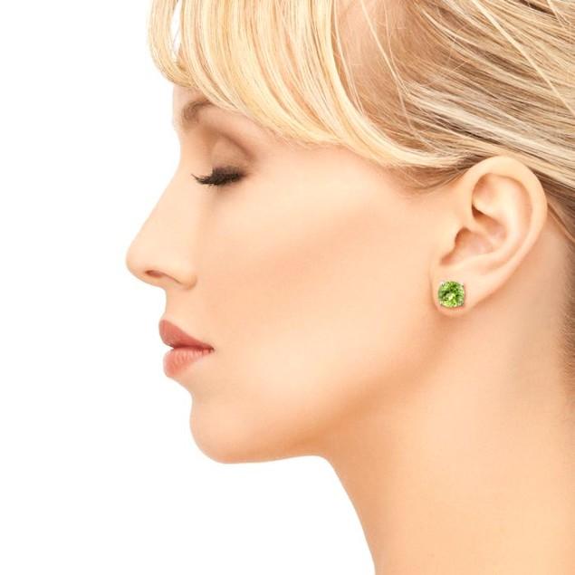 2ct Round Peridot Earrings In Sterling Silver