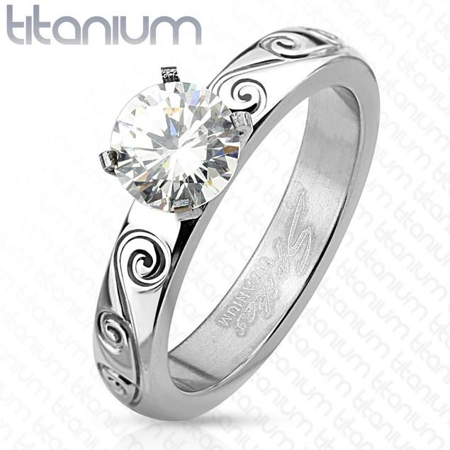 Filigree Engraved with Round Cut CZ Engagement Titanium Ring