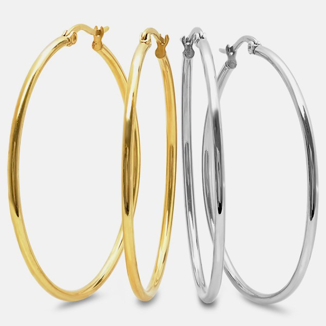 2pk 50mm 18kt Gold Plated Stainless Steel Hoops