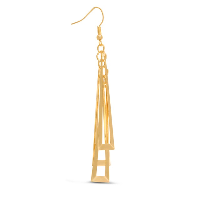 Geometric Gold Tone Dangle Earrings