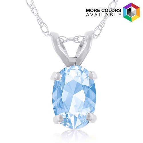 1/2ct Oval Blue Topaz Necklace in 14k Gold
