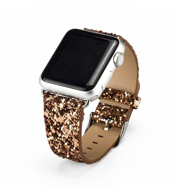 Waloo Leather Sparkle Bling Apple Watch Band Series 1, 2, 3, 4, & 5