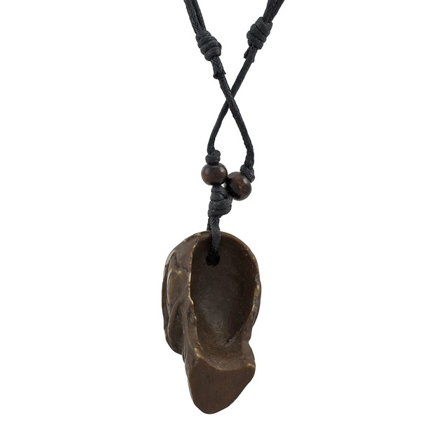 Black Slider Cord Necklace With Brown Skull Mens Pendant Necklaces