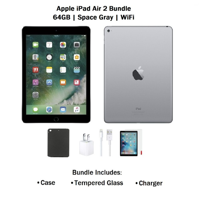 Apple iPad Air 2 MGLW2LL/A 64GB Bundle (Charger, Case, Tempered Glass)