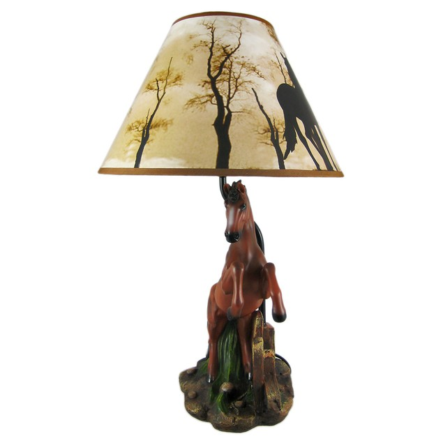 Brown Stallion Horse Table Lamp W/ Nature Print Table Lamps
