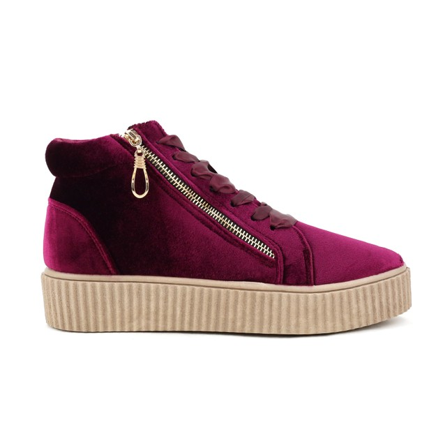 Olivia Miller 'Bellmore' Velvet Side Zip Ribbon Laced Sneakers