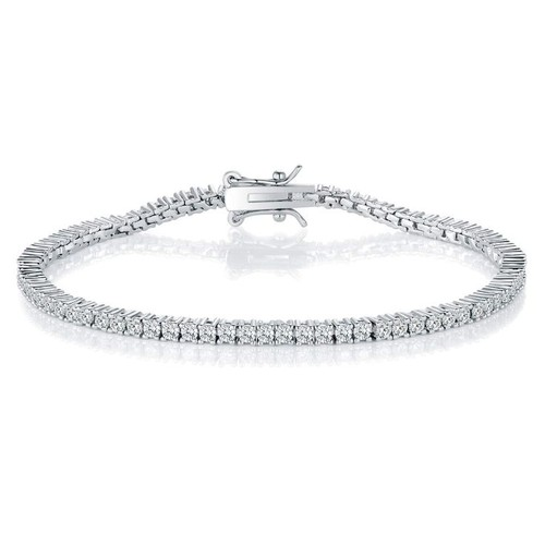 0.925 Sterling Silver Rhodium Finished 2mm Best Quality Cubic Zirconia Small Round Tennis Bracelets