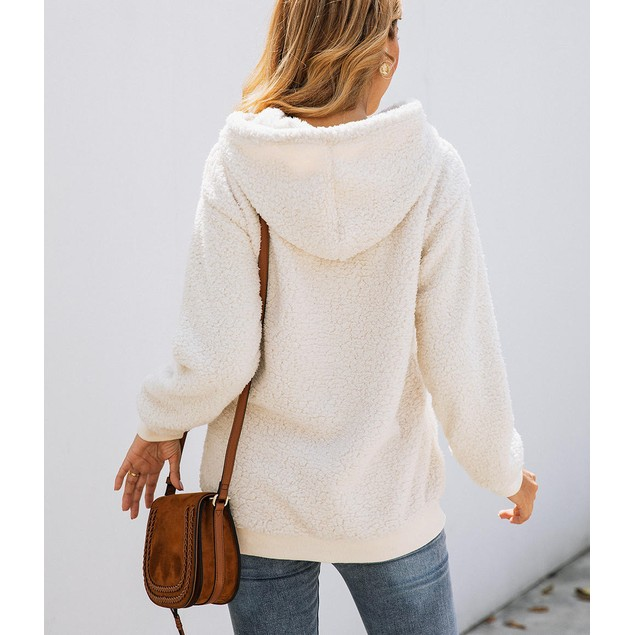Lilly Posh Long Sleeve Solid Sherpa hoodie with Pockets