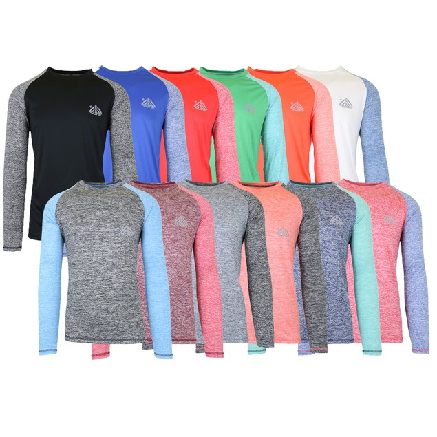 5-Pack Men's Long Sleeve Moisture Wicking Raglan Tee Mystery