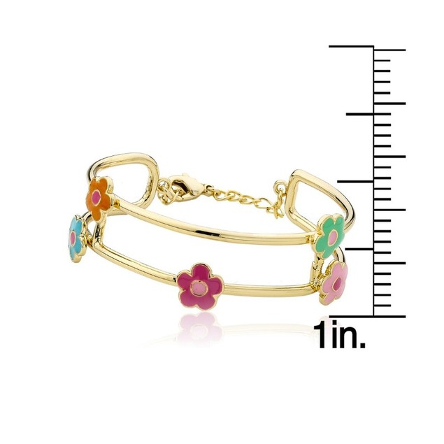 "18KGP Multi Color Flowers Enameled Children's Bangle Bracelets. (5""+ 2"" inches Extention)"
