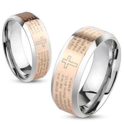 Lord's Prayer Rose Gold IP Beveled Edge Stainless Steel Ring