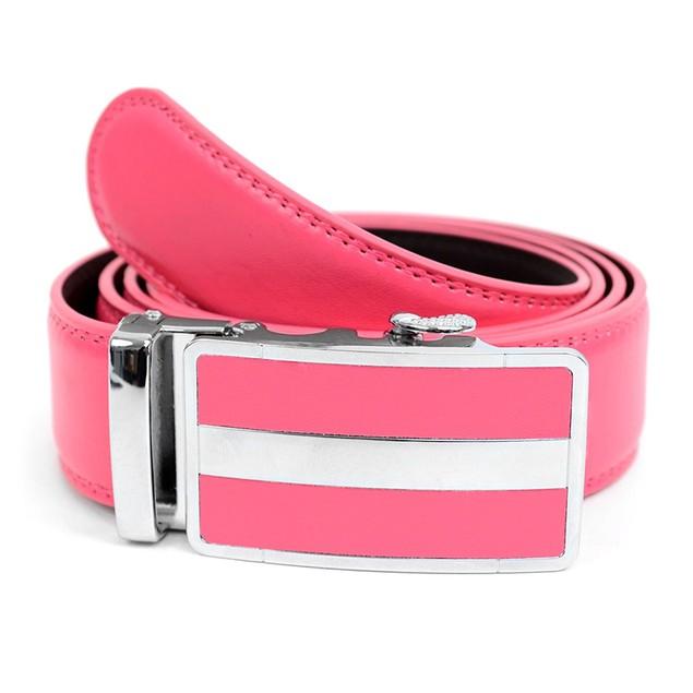 Cut to Adjust Size Genuine Leather Sliding Buckle Ratchet Belt