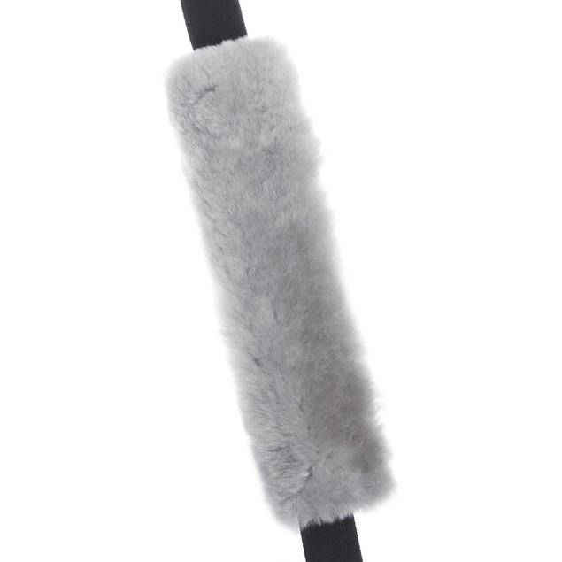 Zone Tech 2x Gray Fleece Car Seat Belt Pads Traveling Bag Shoulder Strap