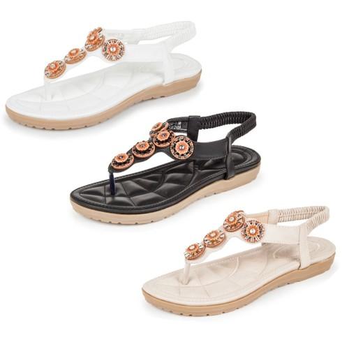 Haute Edition Women's Slip on T-Strap Comfort Sandals