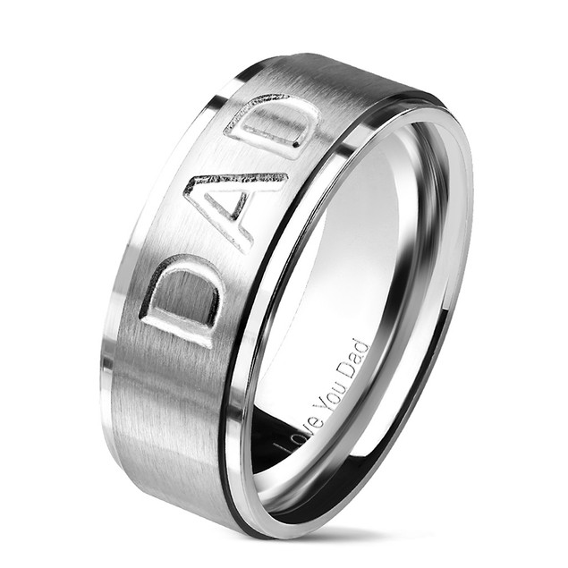 """""""Love You Dad"""" Engraved Inside Of Ring Stepped Edges Stainless Steel Ring"""