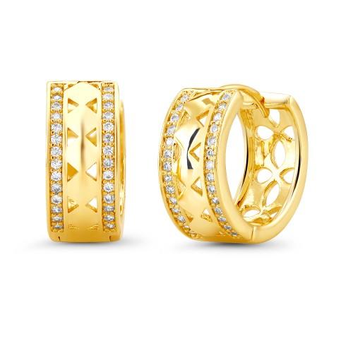 18kt Yellow Triangle Goldtone Cubic zirconia  Huggie Earrings
