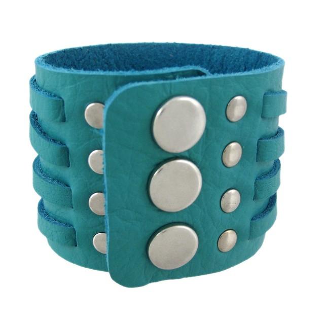 Teal Blue 4 Strip Chrome Studded Wristband Womens Cuff Bracelets