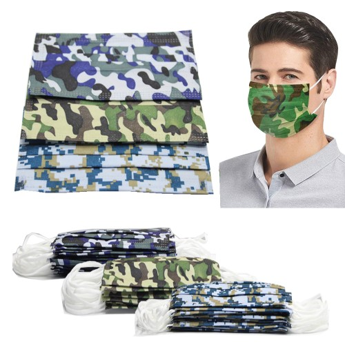 Non-Medical Disposable 3-Ply Camouflage Face Masks (Multi-Packs Available)