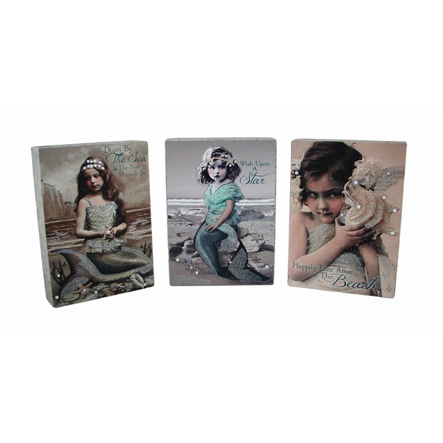 Set Of 3 Vintage Style Young Mermaid Canvas Prints Prints