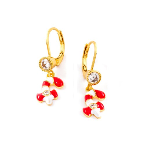 18KGP Red & White Enameled Candy Kane & Bezel Setting Cubic Zirconia Leverback Earrings