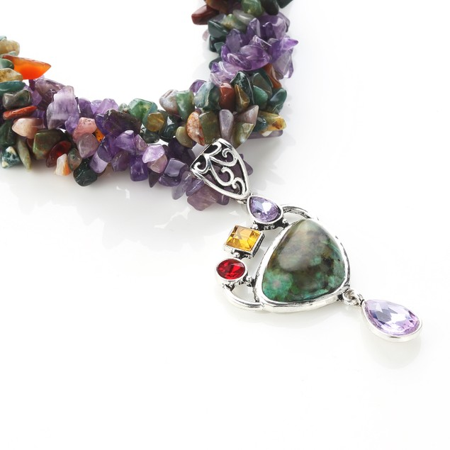 Melodious Turquoise Agate Pebble Necklace