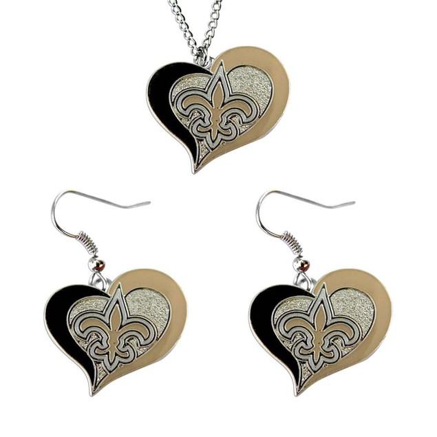 NCAA Swirl Heart Pendant Necklace And Earring Set Charm Gift