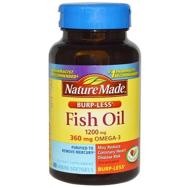 Nature Made Fish Oil Omega-3 Burp-Less 1200 mg Softgels