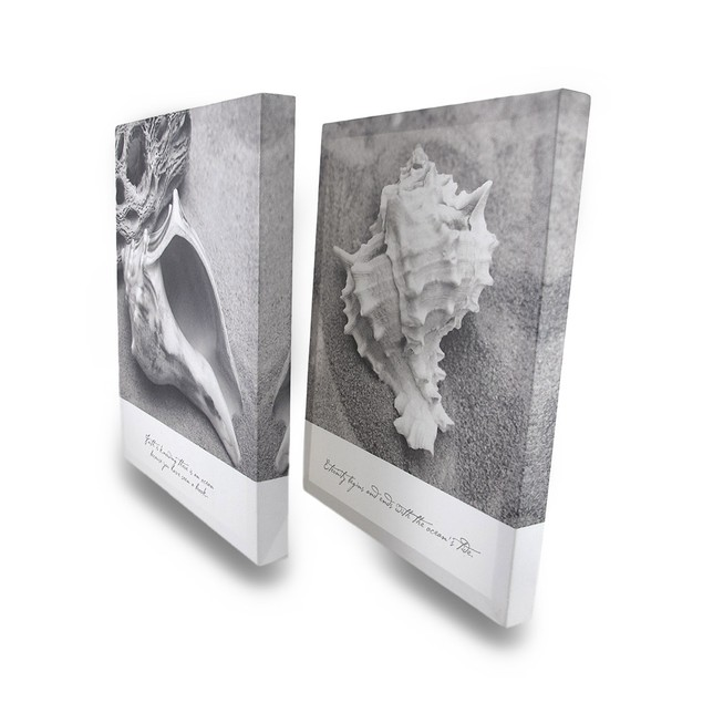 Black And White Faith And Eternity Seashell Canvas Prints