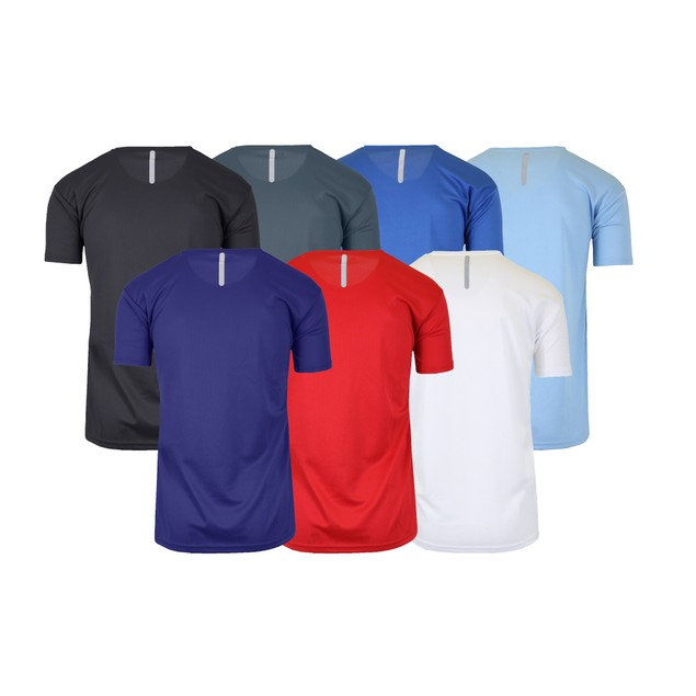 6-Pack Assorted Men's Moisture Wrinkle Free Performance Tee w/ Reflective Stripe (Sizes, S-2XL)