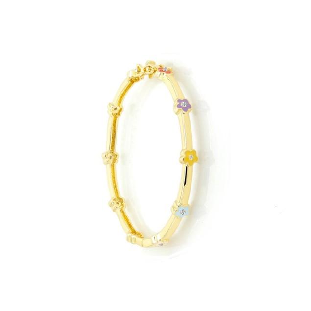 18KGP, Red, Purple, Yellow & Light Blue Enameled Flowers & C.Z Children's Bangle Bracelets (40mm)