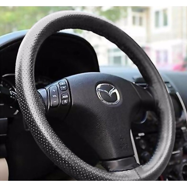 Zone Tech Fun DIY Gray Leather Car Steering Wheel Cover Stitch Sew On