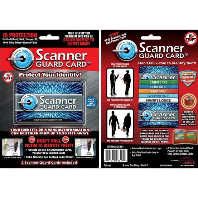 2-Pack Scanner Guard Cards - Protect Your Credit Cards from Identity Theft