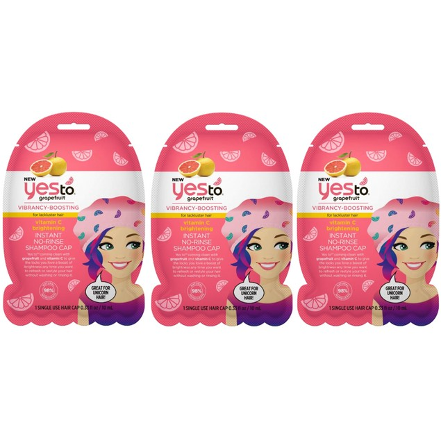 3-Pack Yes To Grapefruit Vitamin C Brightening Instant No Rinse Shampoo Cap