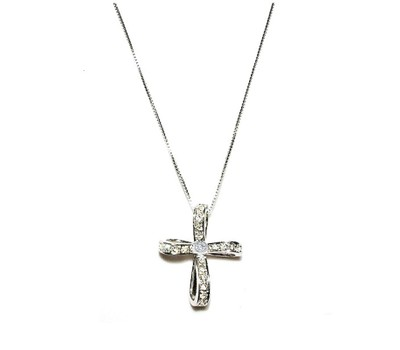 0.925 Sterling Silver Rhodium Finished Double Double Layer Cubic Zirconia Cross Pendant with 18