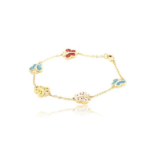 "18K Gold Plated Multi Colored Butterflies Enameled Children's Bracelets (5.5""+ 2""Extention)"