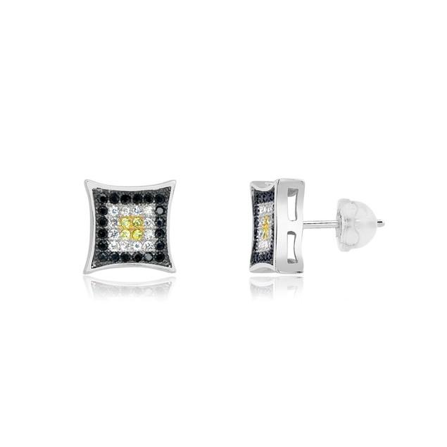 Sterling Silver Black, White & Yellow Micro-Pave Diamond Stud Earrings