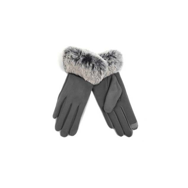 Women's Faux-Fur Cuff Touch-Screen Gloves with Non-Slip Grip - 5 Colors