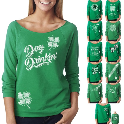 Women's St. Patrick's Day Lucky French Terry Off The Shoulder 3/4 Top