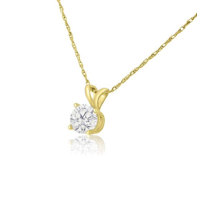 14k Yellow Gold 1/2 Carat Genuine Diamond Solitaire Necklace