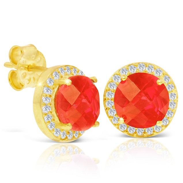 Gold Plated Silver 4ct Sapphire and CZ Halo Stud Earrings