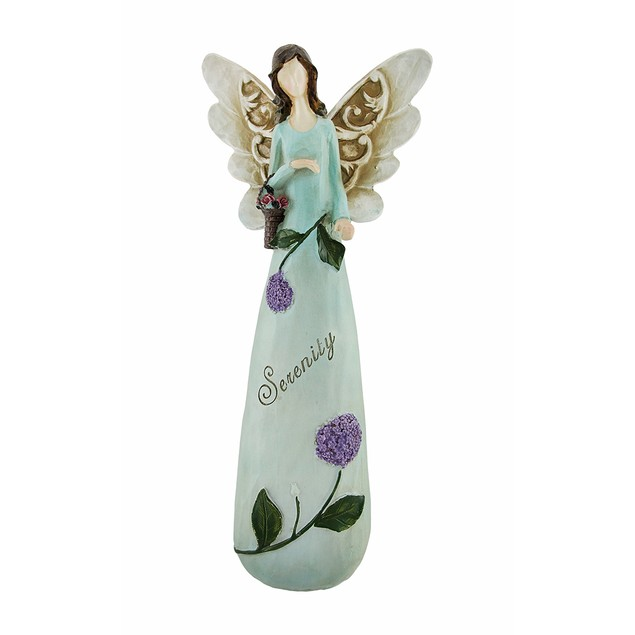 Lovely `Serenity` Lilac Flowers Fairy Figure Blue Statues
