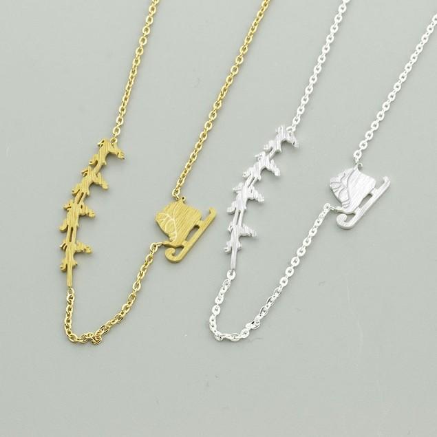 Santa and Reindeer Drop Necklace