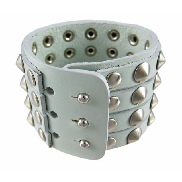 Gray Leather 4 Row Cone Spiked Wristband Wrist Mens Leather Bracelets