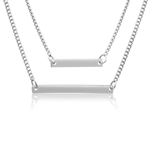 Double Layer Bar Necklace in Yellow or White Tone